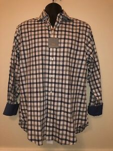 button geruit overhemd Thomas Maat M down 00 grijswit Nwt Dean Msrp115 Heren LR54jA3