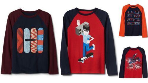 NWT GAP Graphic Long Sleeve Baseball Tee Shirt Skateboard Snowmobile Boys XL XXL
