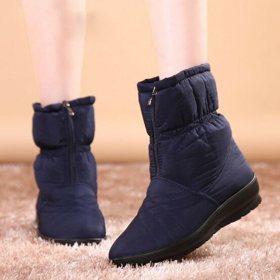 Fur Lined Ladies Ankle Boots Warm Winter Antiskid Waterproof Women Snow Boots