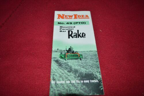 New Idea No.49 PTO Mounted Barallel Bar Rake Dealer/'s Brochure CNNB