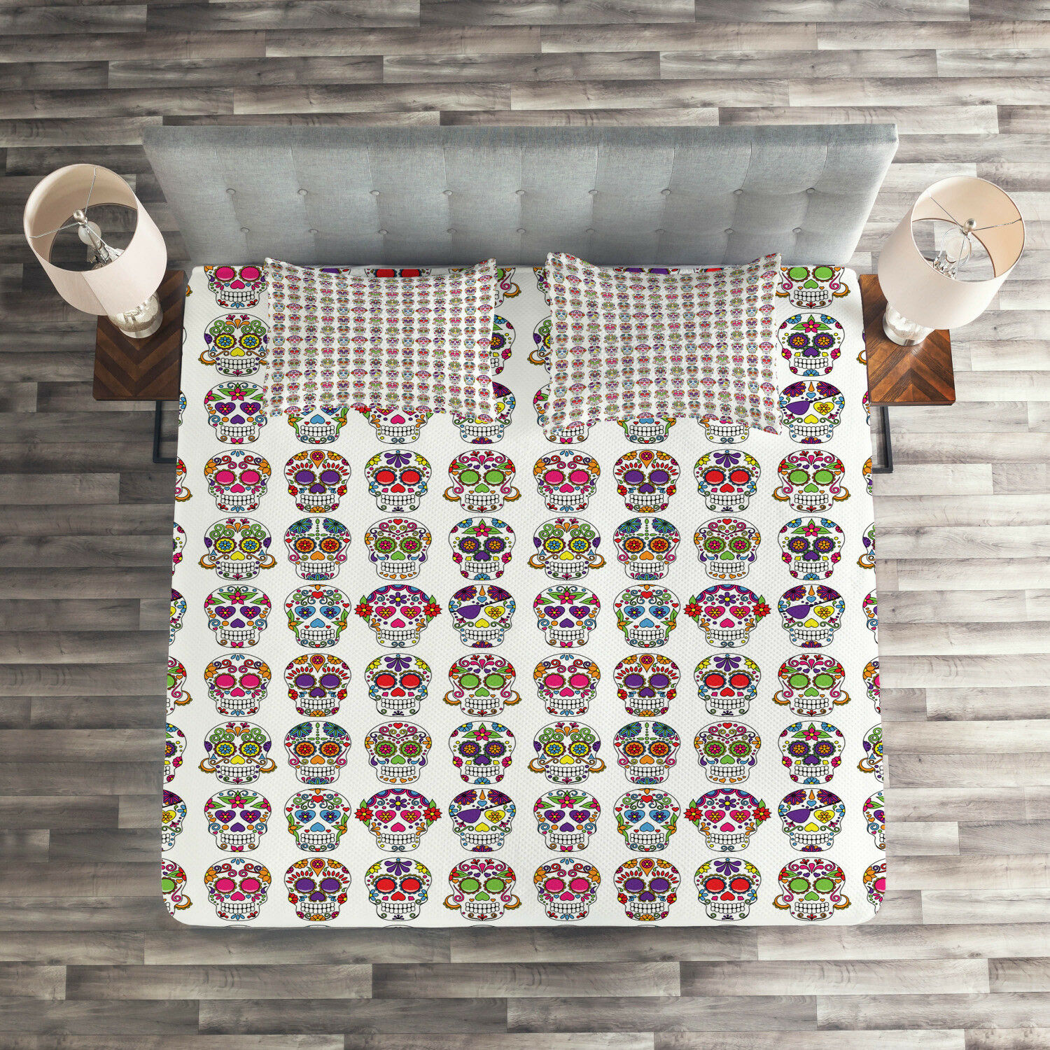 colorful Quilted Coverlet & Pillow Shams Set, Skulls with Flowers Print