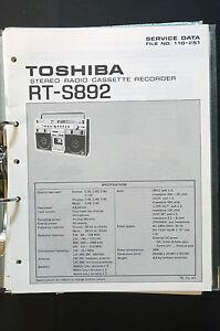 image is loading toshiba-rt-s892-original-service-manual-manual-wiring-