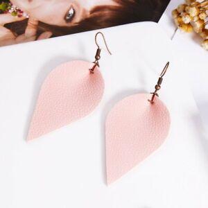 Chic-Women-Lady-Pink-Teardrop-Leather-Earrings-Ear-Stud-Hook-Drop-Dangle-Jewelry