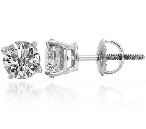 1.02 ct F SI2 ROUND CUT DIAMOND STUD EARRINGS 14K WHITE gold