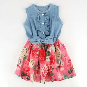 Toddler-Baby-Girl-Kid-Summer-Princess-Dress-Denim-Vest-Flower-Tutu-Skirt-Dresses