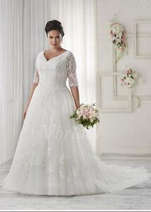 0e11b4f2fce40 2019 New Plus Size White Ivory Bridal Gown Lace Wedding Dress Stock ...