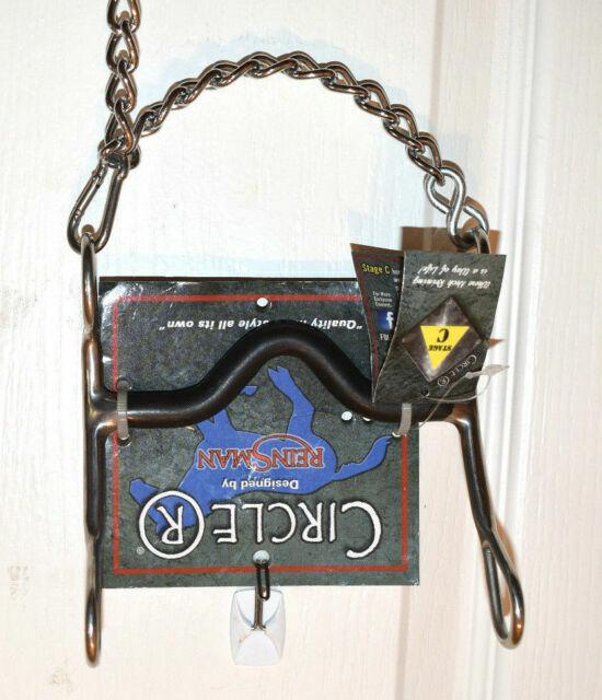 "Circle R Reinsman 5/"" SS Medium Port Sweet Iron Horse Bit W Curb Chain CR651 for sale online"