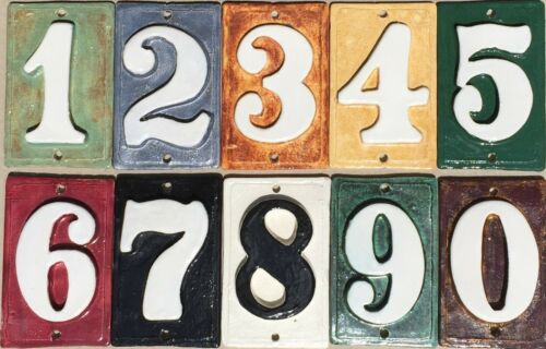 Address handmade ceramic .Applewood Wall  numbers Post Numbers Mailbox