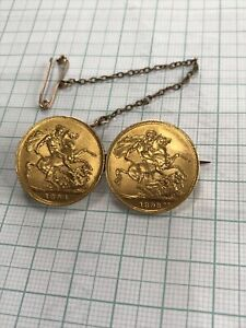 Two Queen Victoria Gold full sovereigns (1893, 1894) fixed as a mounted brooch