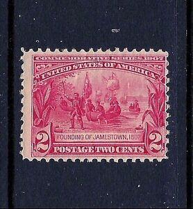 329-MINT-VLH-1907-Carmine-2c-JAMESTOWN-Expo-Issue