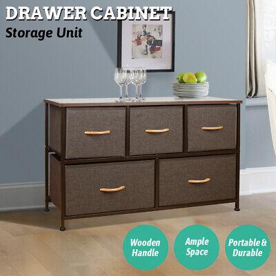 Wide Drawer Dresser Storage Unit Shelf Organizer Bins Chest w// 5 Fabric Drawers