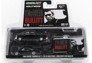 Greenlight 1 64 Bullitt Steve Mcqueen Dodge Charger Dodge Ram & Car Hauler Set