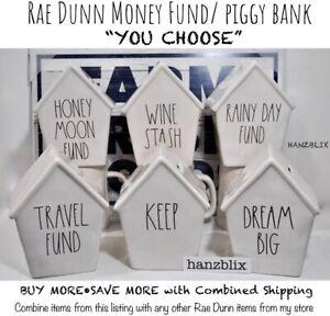 Rae-Dunn-Money-Fund-Piggy-Bank-RAINY-DAY-TRAVEL-KEEP-DREAM-BIG-034-U-CHOOSE-034-NEW-039-19
