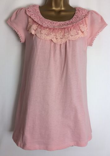 Dorothy Perkins Pink Lace Detail Jersey Top Size 6 New