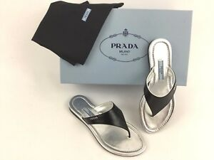 0a6adc59f64 Prada Logo Patent Leather Black Flip Flop Flat Thong Sandal 34  4