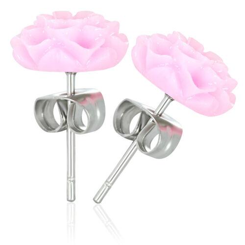 2er Set Edelstahl Ohr Stecker Flower Blume Rosa Lila Blau Piercing Ohrring Damen