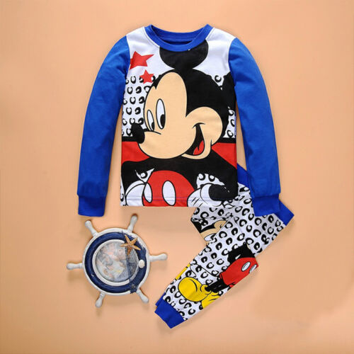 Toddler Kids Boys Girls Mickey Short Sleeve Nightwear Sleepwear Pj/'s pajamas