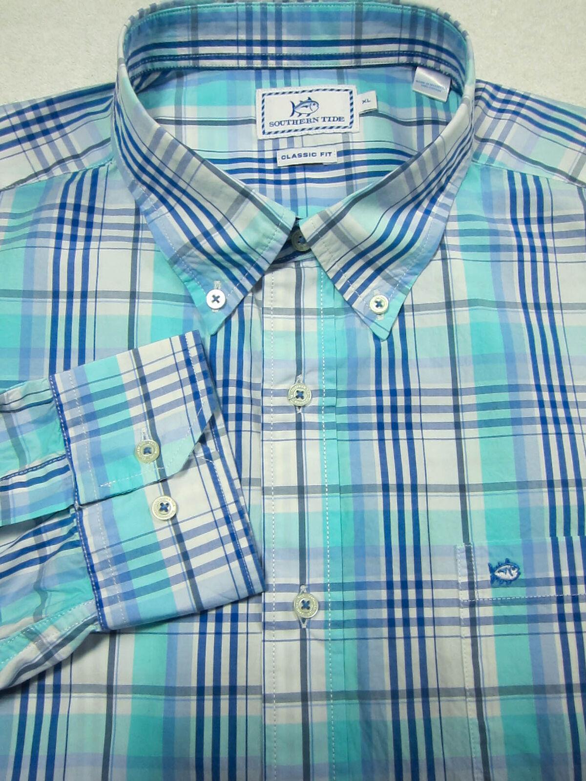 Bellissimo Southern Tide Colore Foglia di Tè e Blu Plaid Camicia Cotone XL 18x35