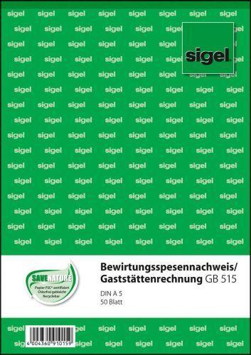 """A5 sigel Formularbuch /""""Bewirtungsspesennachweis/"""" 50 Blatt"""
