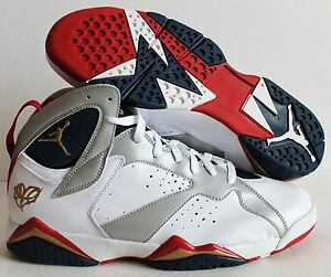 cheaper e87a6 32405 Image is loading Nike-Air-Jordan-7-Retro-Olympic-Edition-White-