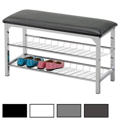 Banc de rangement meuble à chaussures 2 étagères en métal chromé coussin