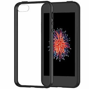 iPhone-SE-Case-Cover-Shock-Absorption-Bumper-Clear-Back-for-iPhone-5s-5-Black