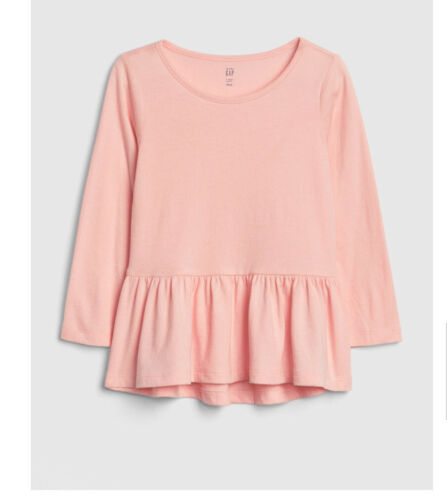 New Girls Baby Gap Light Pink Long Sleeve Peplum Top Size 3t
