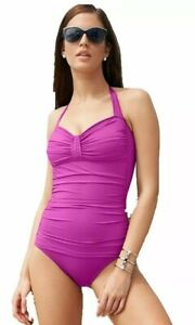 Tommy Bahama Ruched Halter One-Piece Swimsuit