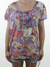 NEXT pretty butterfly print cotton short sleeve blouse top size 16 euro 44