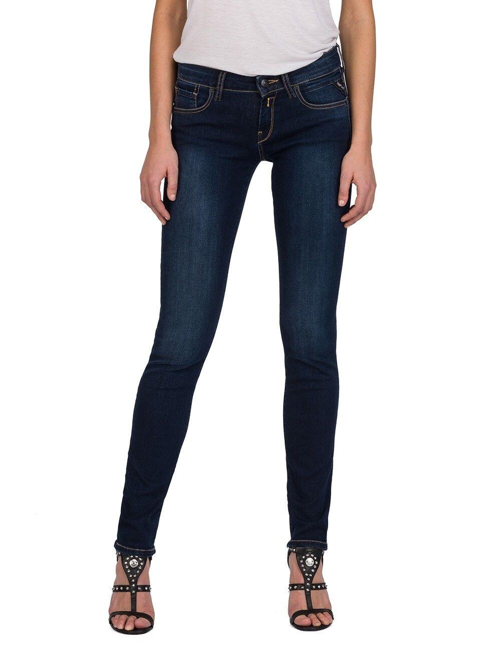 Replay Damen Jeans Vicki - Straight Fit - Blau - Medium Blau