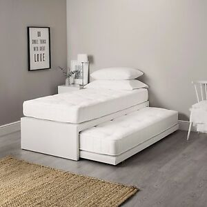 3ft single leather guest bed 3 in 1 with mattress pullout for Divan trundle bed