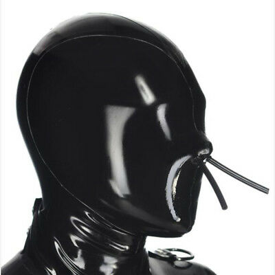 Full Cover Latex Hood with Fixed Hollow Mouth and Nose Tube Rubber Mask ClubWear