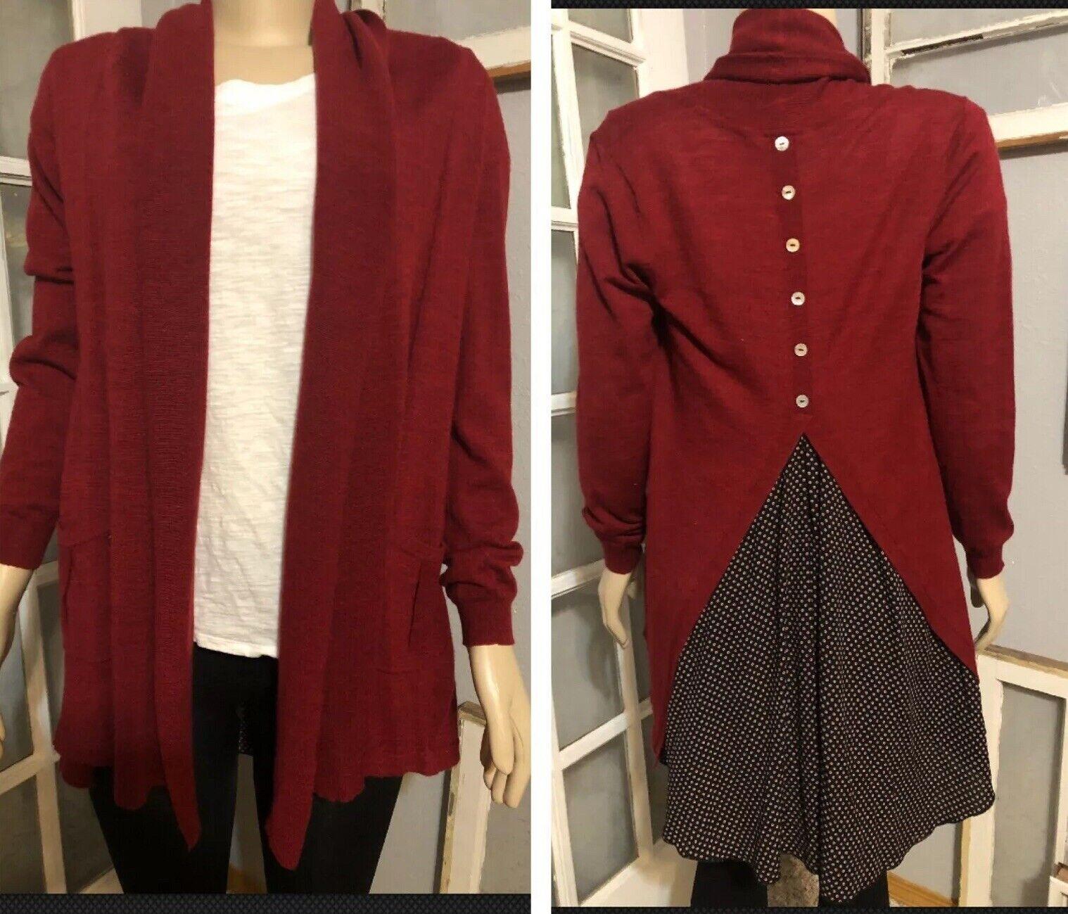Soft Surroundings Size XS Bordeaux Open Tunic Cardigan Sweater Mixed Media