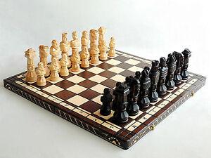 Nouveau Luxe Fait Main Sculpté Gladiateur Jeu D'échecs En Bois 59cm Idée Cadeau