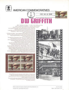 50-10c-Movies-039-D-W-Griffith-1555-USPS-Commemorative-Stamp-Panel-w-FDC