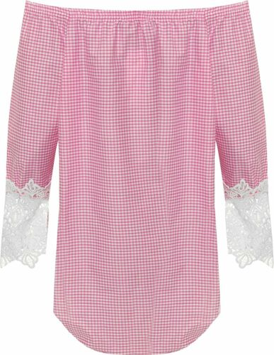 Womens Plus Size Gingham Check Off Shoulder Lace Sleeve Bardot Gypsy Boho Top