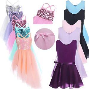 Girls-Kids-Camisole-Ballet-Dance-Dress-Gymnastics-Leotard-Tutu-Dancewear-Clothes