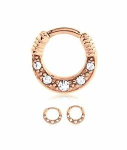 260cbeea4570c Rose Gold PVD Plated Surgical Steel Septum Clicker Nose Ring 1/4