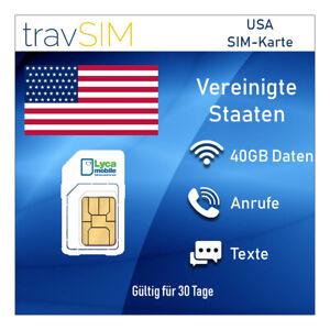 Sim Card Usa America Prepaid 40 Gb Lte Flat Telephony National