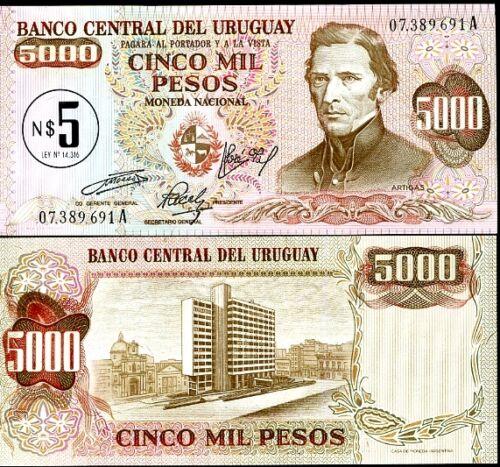 ON 5,000 PESOS ND 1957 P 57 UNC URUGUAY 5 N