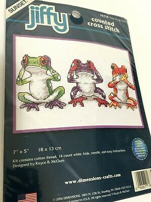14 Count White Aida Dimensions Tree Frog Trio Counted Cross Stitch Kit 5 x 7