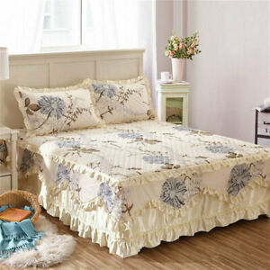Cotton-Floral-Thick-Bed-Skirts-Quilted-Fitted-Sheet-Full-Queen-King-Pillow-Cases