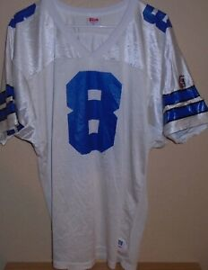 reputable site 4a783 b7b6a Details about Vintage 90s Troy Aikman Dallas Cowboys Wilson Football White  Jersey Size Large