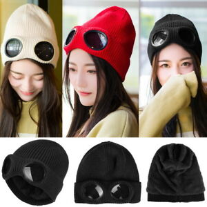 Winter-Women-Unisex-Goggle-Beanie-Knitted-Woolly-Winter-Chunky-Beany-Hat-Hot