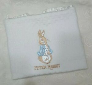 Vintage White Peter Rabbit Baby Blanket Beatrice Potter