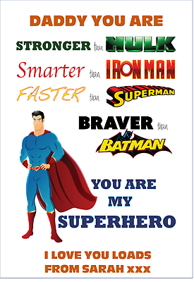 Superhero DADDY GRANDAD Fathers Day gifts DAD Personalised Word Print A4 Uncle,