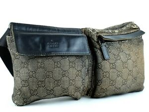df3711081df Auth GUCCI GG Pattern Gray Canvas   Black Leather Waist Bag Belt Bum ...