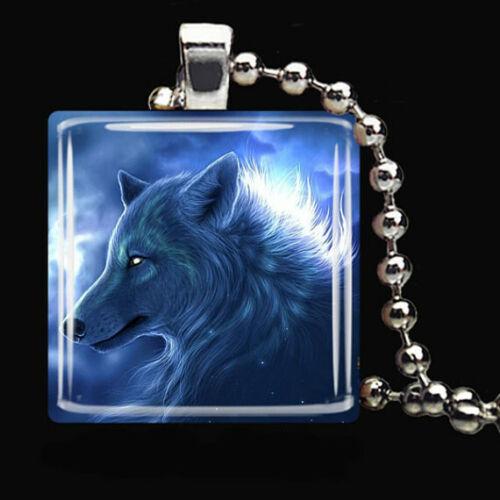 Blue Wolf Magic Blue Moon Dog Coyote Verre Carrelage Collier Pendentif Bijoux en argent
