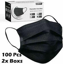 100 200 Pcs Black Face Mask Mouth Amp Nose Protector Respirator Masks Usa Seller