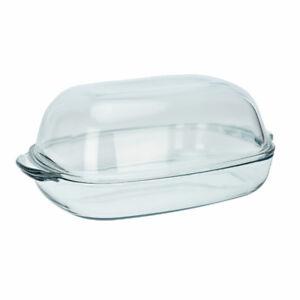 Cocotte-a-Rotir-Resistant-Verre-a-La-Chaleur-Ovale-Avec-Couvercle-8L-Transparent